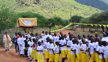 Eucharistic procession in Kifaru Parish of the Diocese of Same